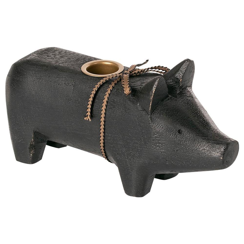Maileg - Kerzenhalter Schwein Schwarz