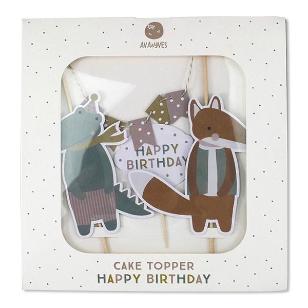 Ava & Yves - Cake Topper Happy Birthday Fuchs Krokodil
