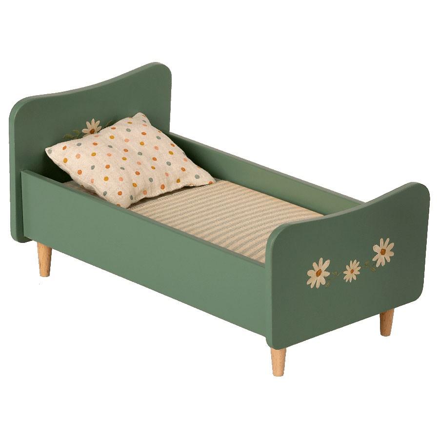 Maileg - Mini Bett aus Holz Mint Blau für Mäuse