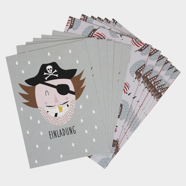 """Ava & Yves - 6 Einladungskarten mit Umschlag Kinderparty """"Pirat"""""""