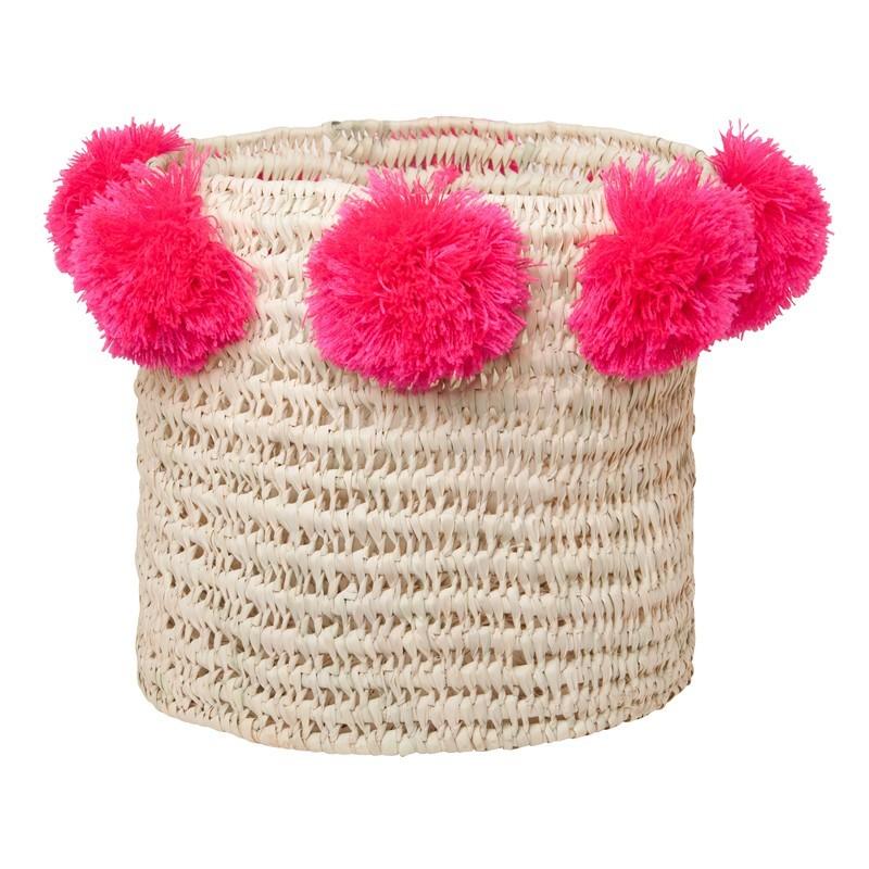 Rose in April - Korb mit Pompoms Pink