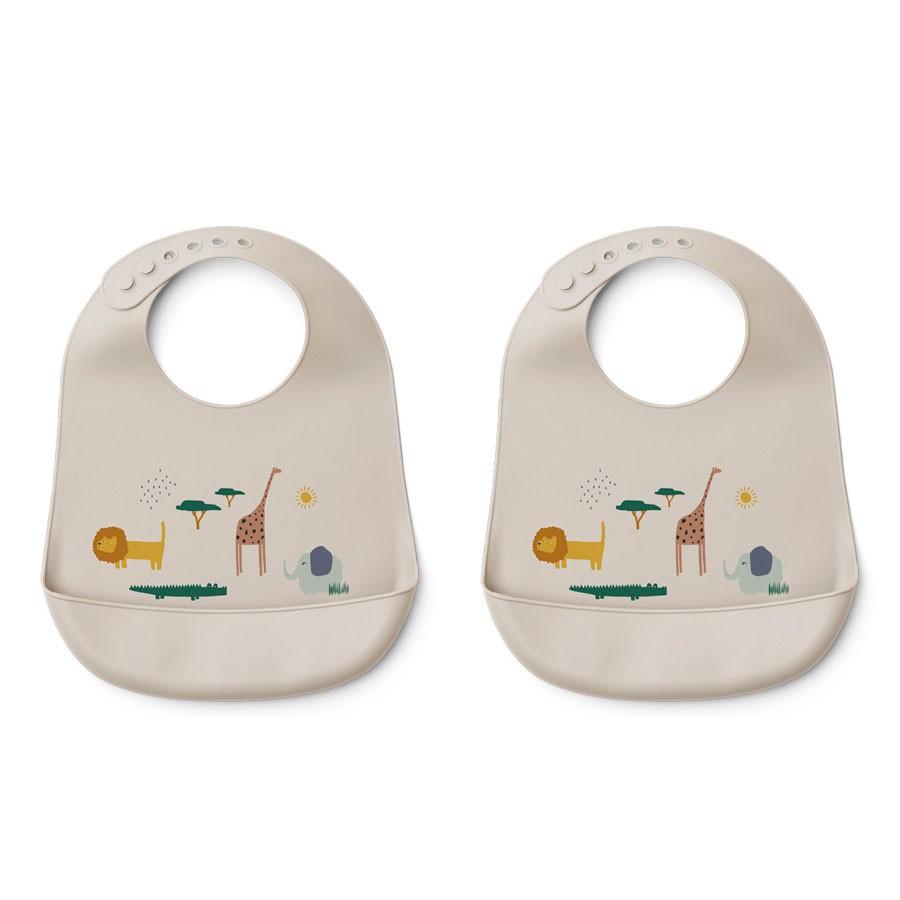 Liewood - 2 Babylätzchen Silikon Tilda Safari Sandy Mix