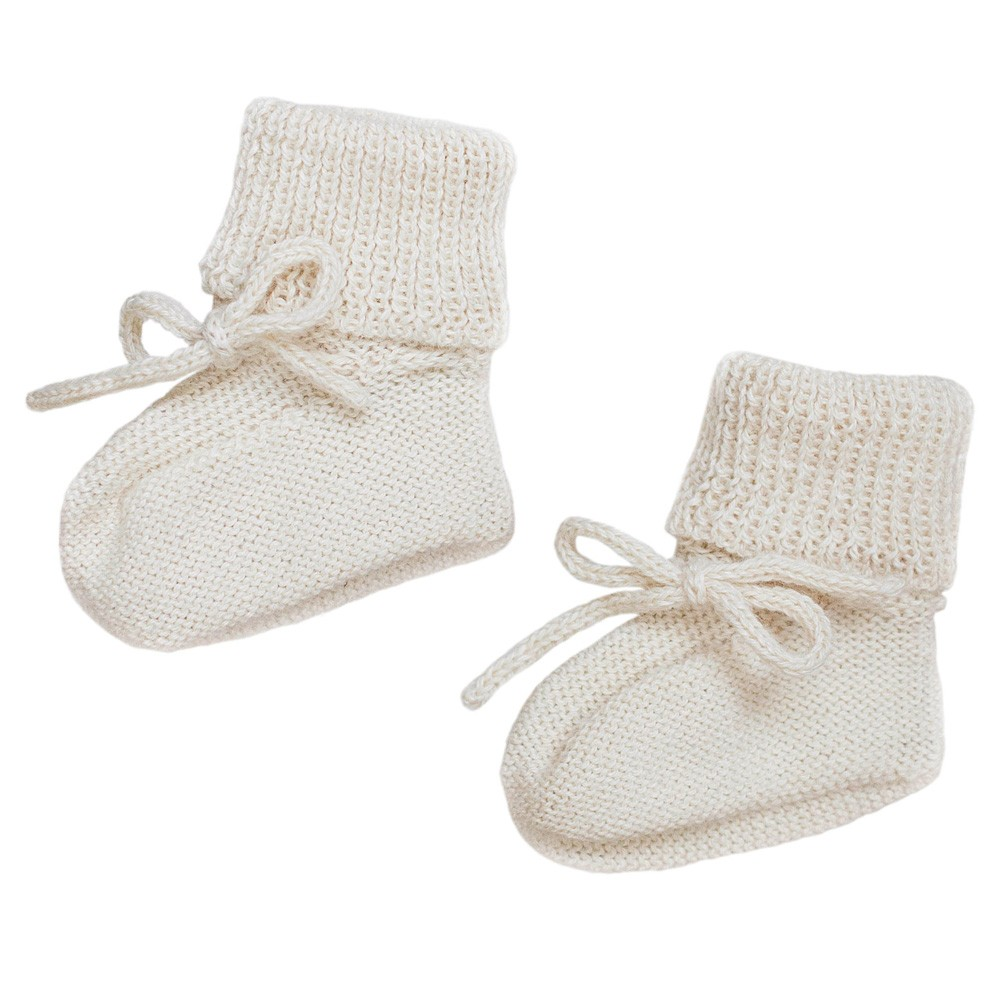 Main Sauvage - Babyschuhe aus Strick Weiß