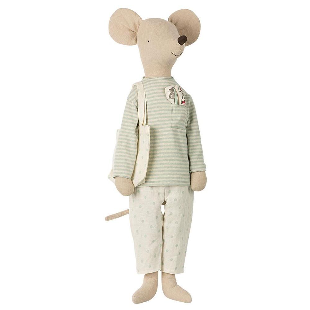 Maileg - Mega Maus mit Schlafanzug und Zahnbürste Mint