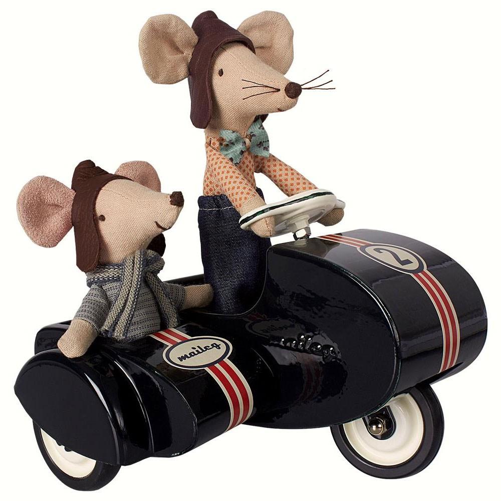 Maileg - Scooter mit Beiwagen Schwarz für Mäuse