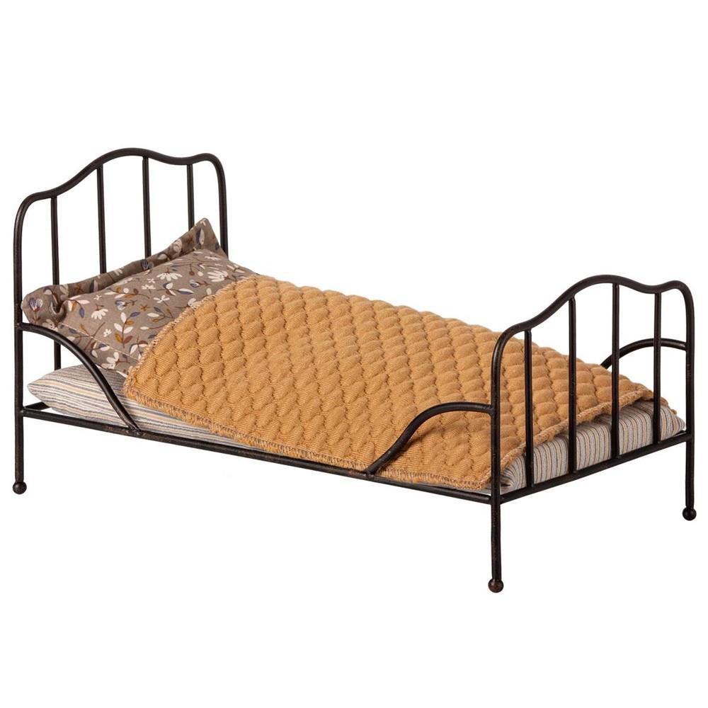 Maileg - Bett Anthrazit für Mäuse und Puppenhaus