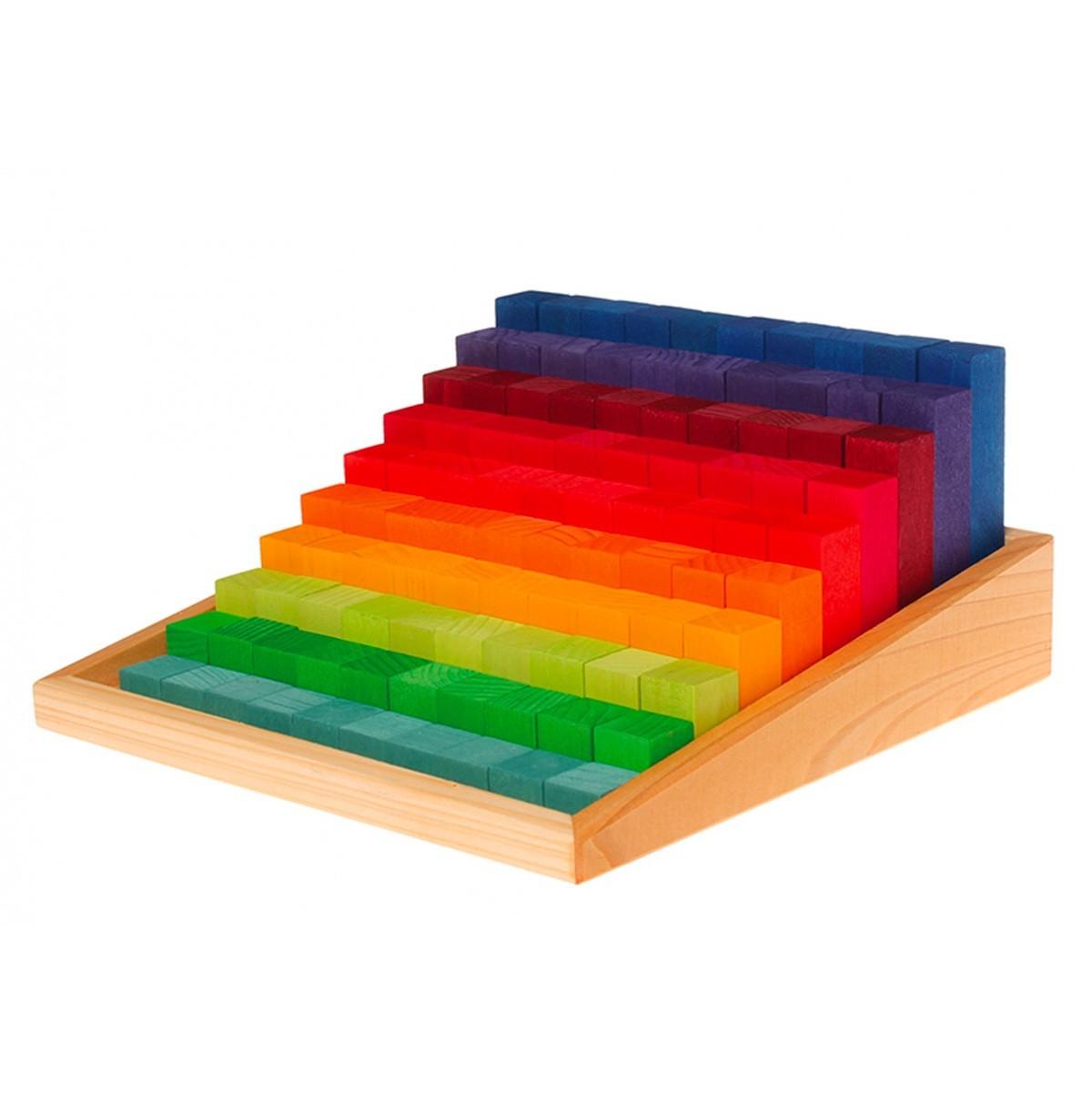 Grimm's Spielzeug - Kleine Stufenzählstäbe Regenbogen