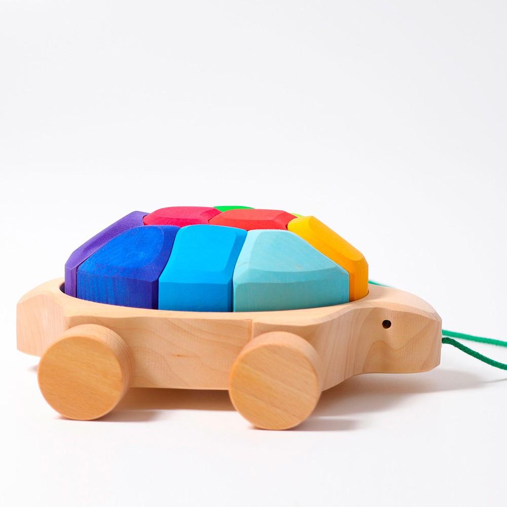 Grimm's Spielzeug - Nachziehtier Schildkröte Regenbogen