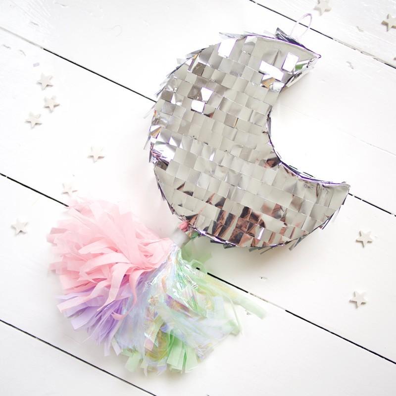 Piñata - Glitzer Mond in Silber für Kinderparty