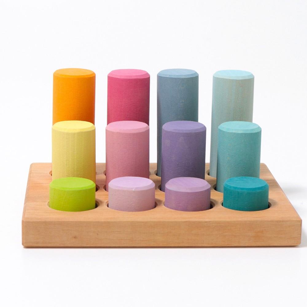 Grimm's Spielzeug - Steckspiel Kleine Walzen Pastell