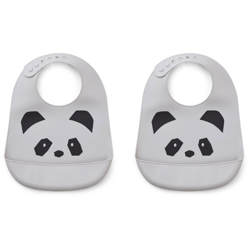 Liewood - 2 Babylätzchen Silikon Tilda Panda Dumbo Grey