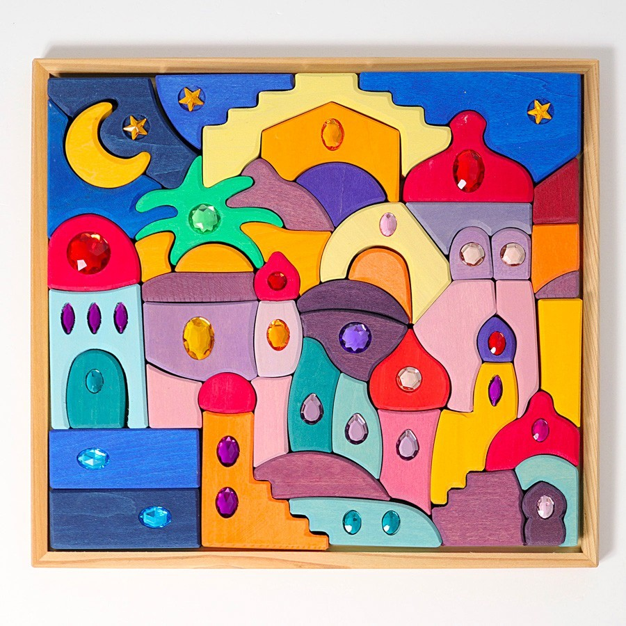 Grimm's Spielzeug - Großes Mandala Morgenland mit Glitzer