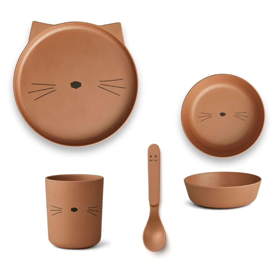Liewood - Geschirrset Bambus Katze Terracotta