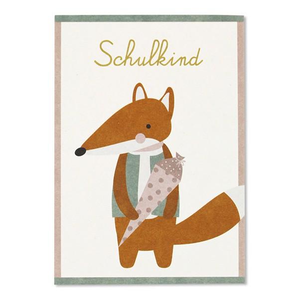 Ava & Yves - Postkarte Schulkind Fuchs