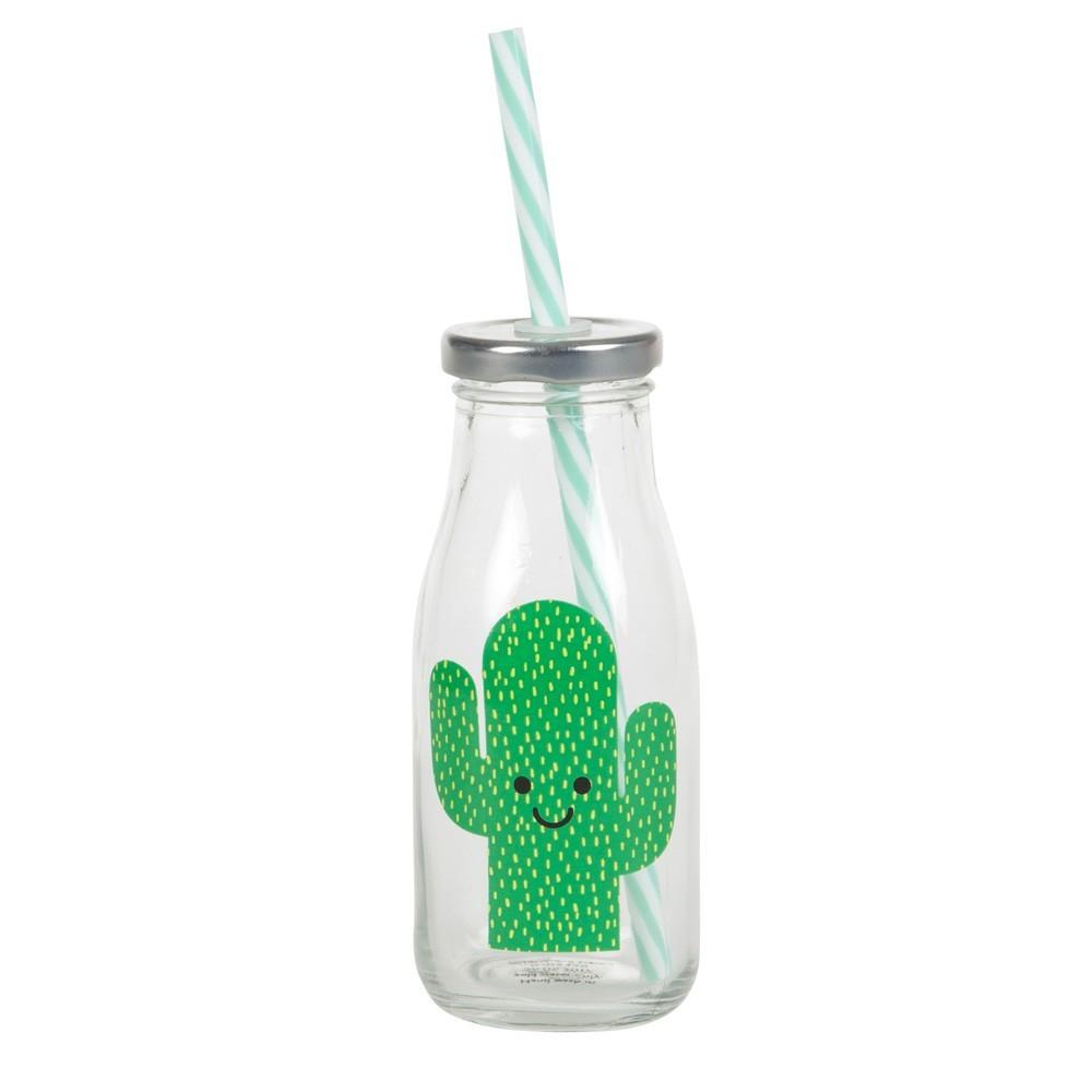 """Sass & Belle - Milchflasche """"Kaktus"""" mit Strohhalm"""