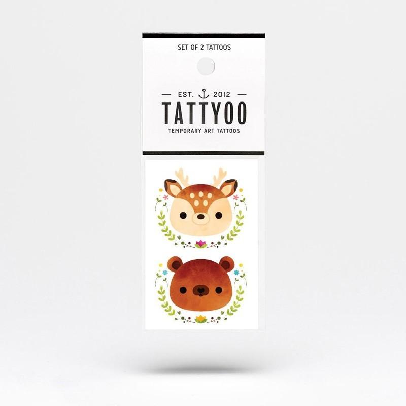 """Tattyoo - 2 Tattoos für Kinder """"Reh und Bär"""""""