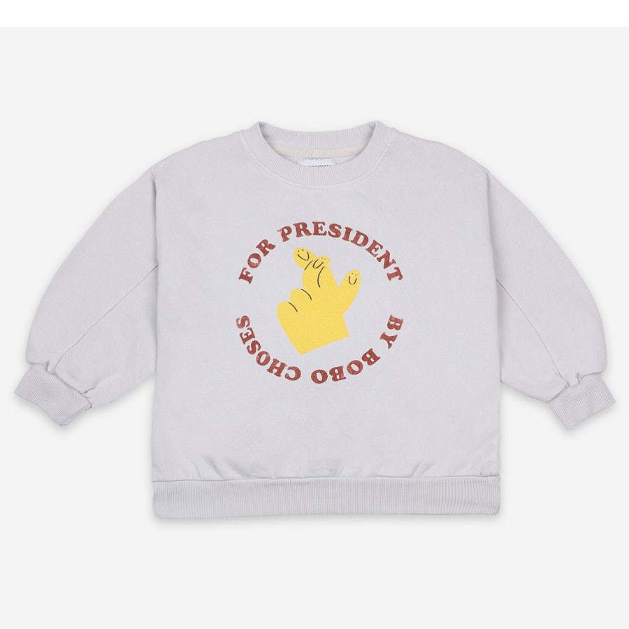 "Bobo Choses - Sweater ""Fingers Crossed"" Grau"