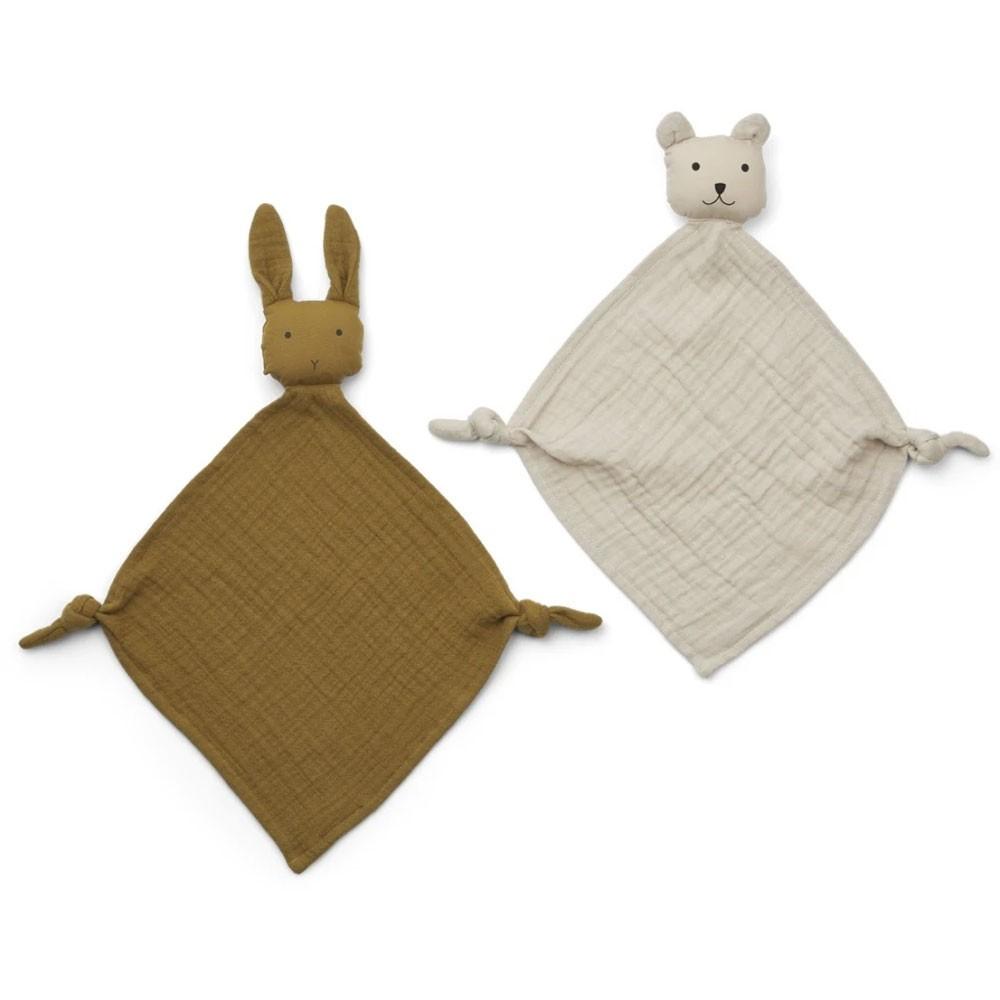 Liewood - Yoko Mini Cuddle Cloth 2 Pack - Olive green/sandy mix