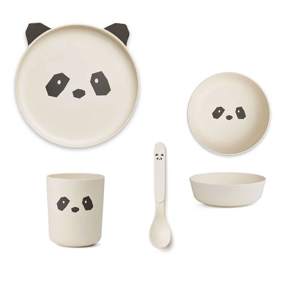Liewood - Geschirrset Bambus Panda Creme