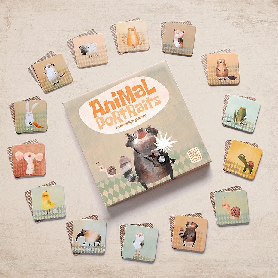 Marbushka - Memory Spiel Animal Portrait ab 3 Jahre
