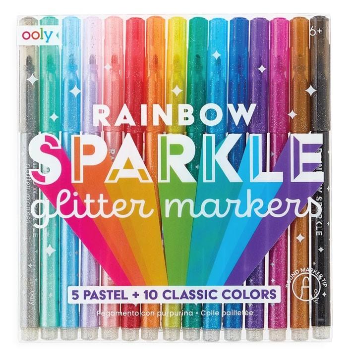 OOLY - 15 Regenbogen Glitzer Marker