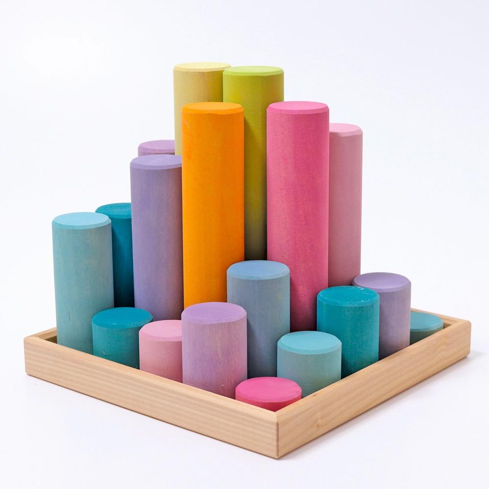 Grimm's Spielzeug - Große Bauwalzen Pastell