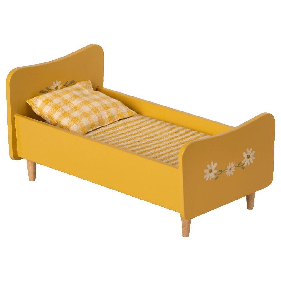 Maileg - Mini Bett aus Holz Gelb für Mäuse