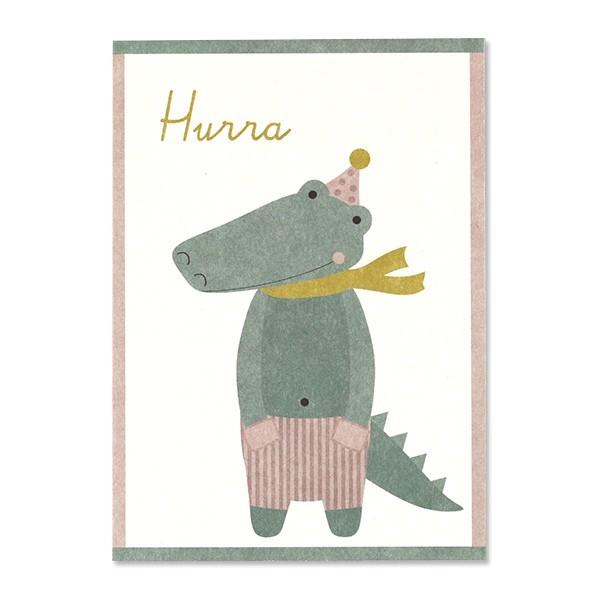 "Ava & Yves - Postkarte Krokodil ""Hurra"""