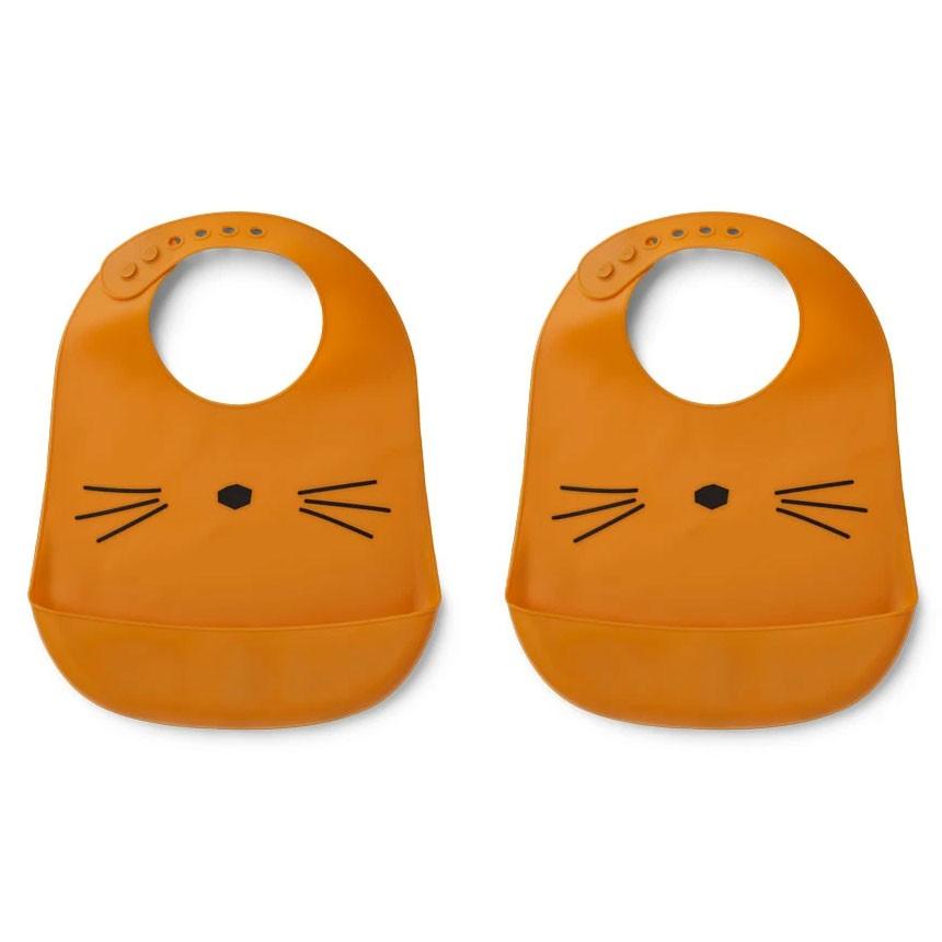 Liewood - 2er Set Babylätzchen Silikon Katze Senfgelb