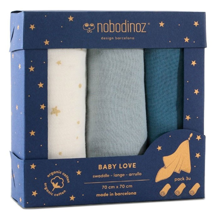 Nobodinoz - Box 3 Baby Love Swaddles Blue