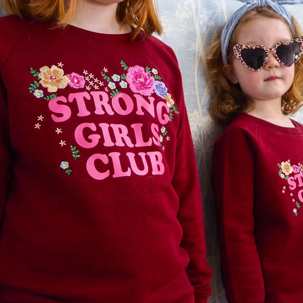 """Muthahood - Kids Sweater """"Strong Girls Club"""" Floral"""