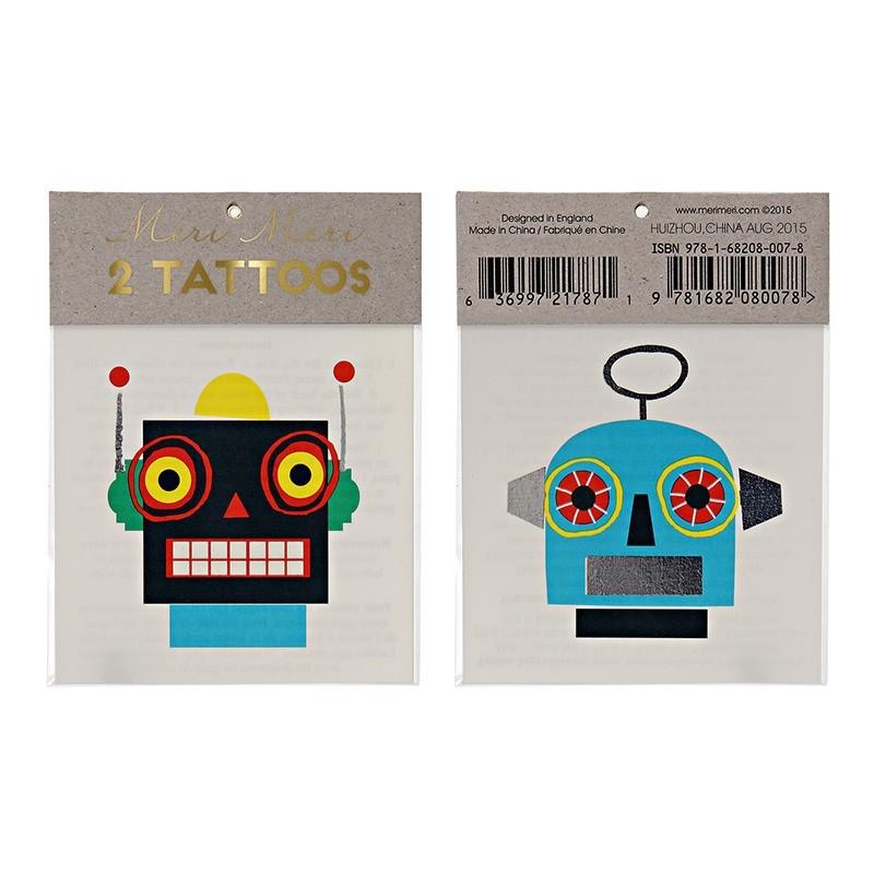 Meri Meri - 2 Kindertattoos Roboter