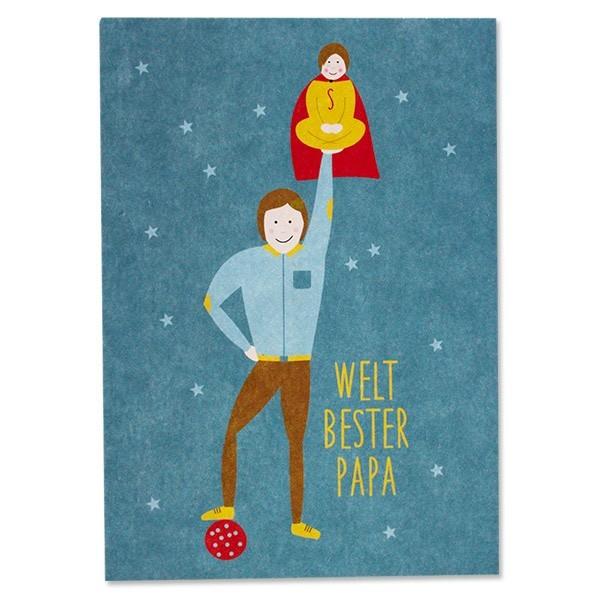 "Ava & Yves - Postkarte ""Weltbester Papa"""
