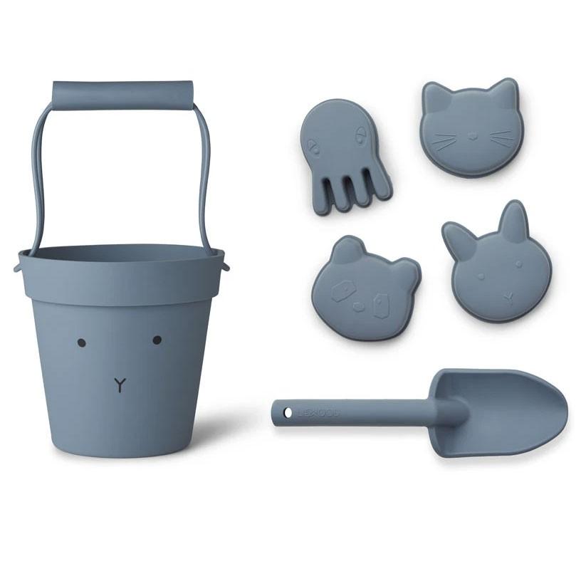 Liewood - 6-teiliges Strandspielzeug Dante aus Silikon Hase blau