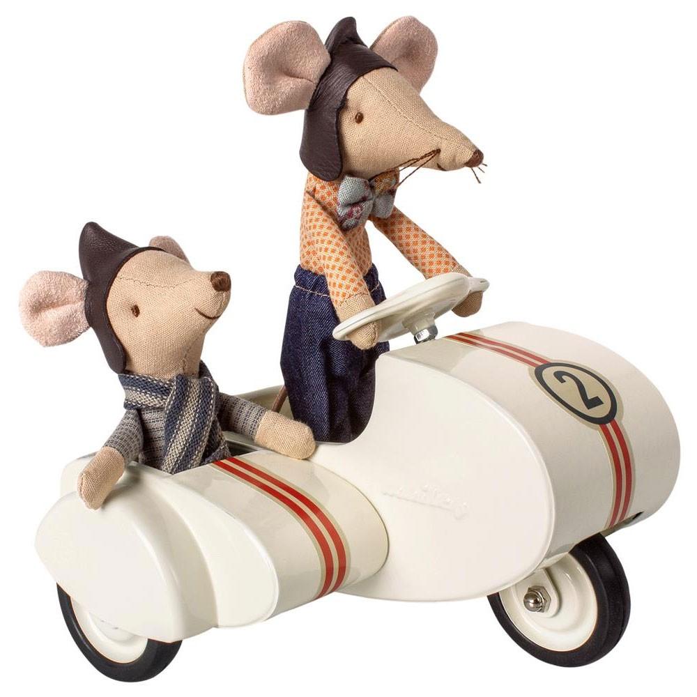 Maileg - Scooter mit Beiwagen Weiß für Mäuse
