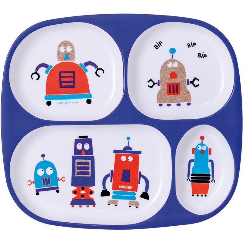 "Petit Jour Paris - Kinderteller mit Fächern ""Roboter"""