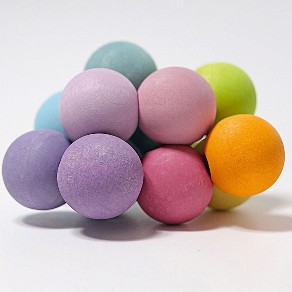 Grimm's Spielzeug - Kugelgreifling Pastell Regenbogen