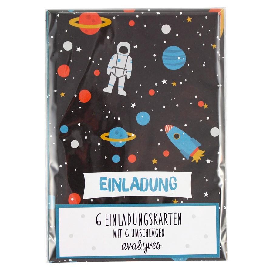"""Ava & Yves - 6 Einladungskarten mit Umschlag """"Rakete"""""""