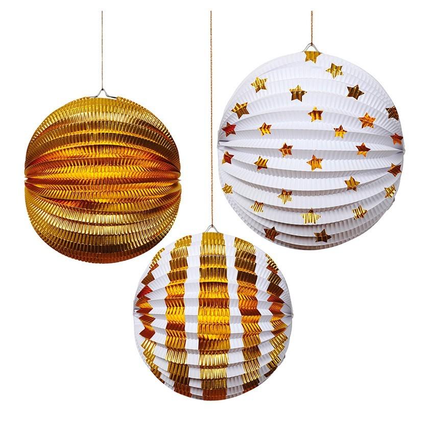 Meri Meri - 3er Set Lampions Gold
