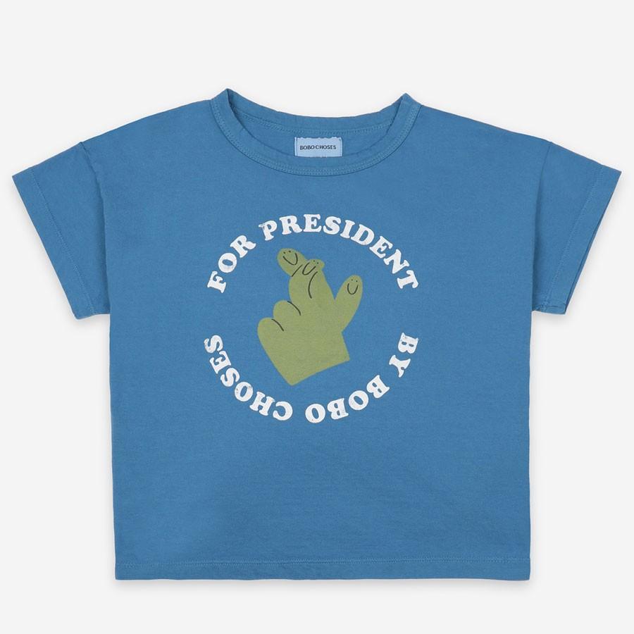 "Bobo Choses - T-Shirt ""Fingers Crossed"" Blau"