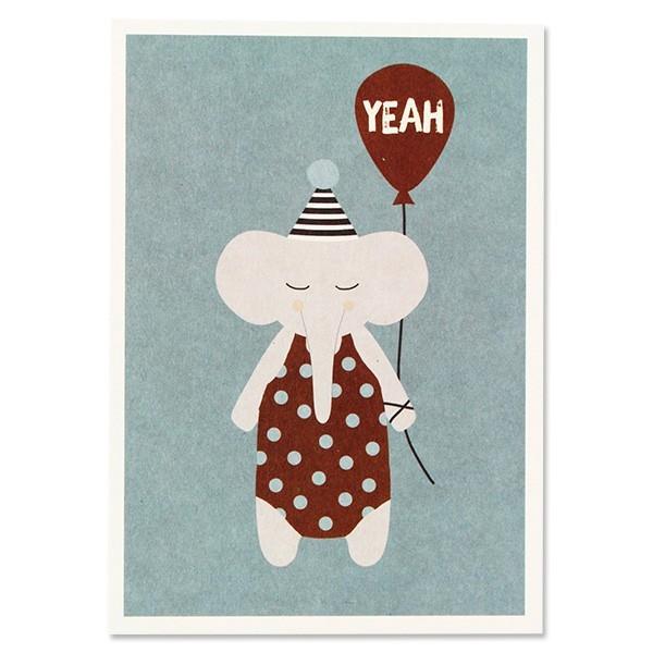 """Ava & Yves - Postkarte """"Elefant mit Hütchen"""""""