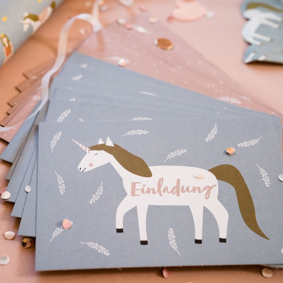 """Ava & Yves - 6 Einladungskarten mit Umschlag Kinderparty """"Einhorn"""""""