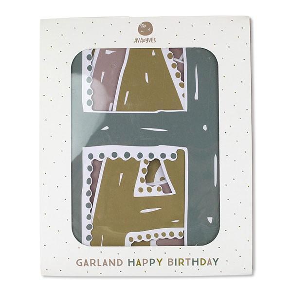 Ava & Yves - Girlande Happy Birthday Pastell