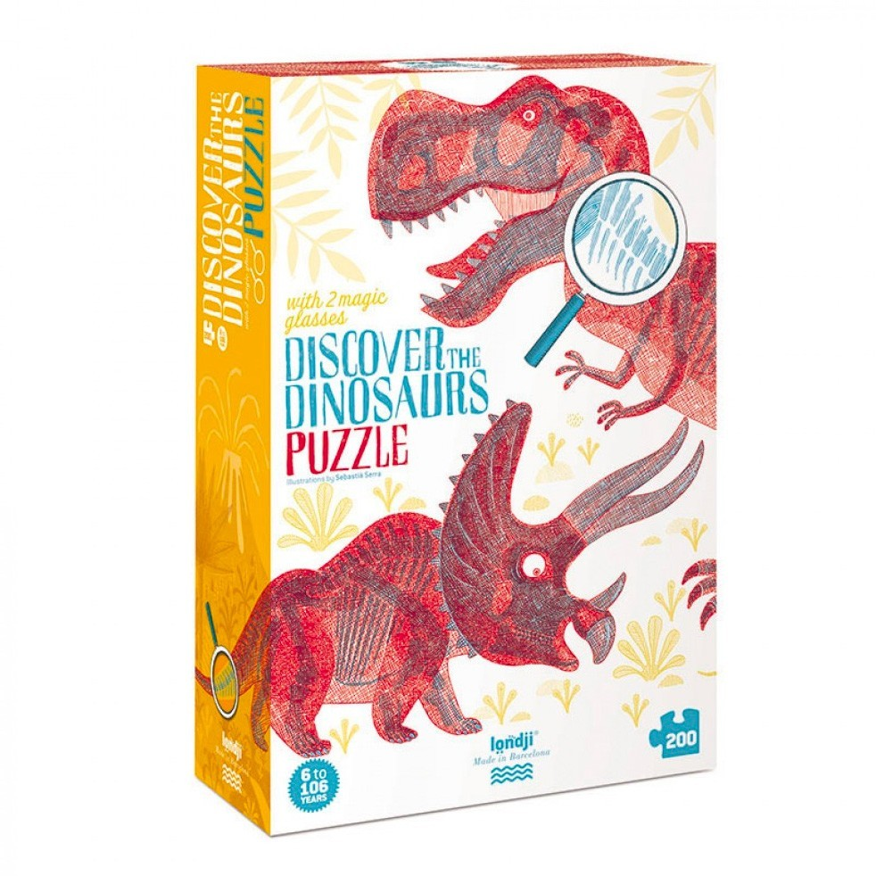 """Londji - Mit Lupe - Puzzle """"Dinosaurier"""""""