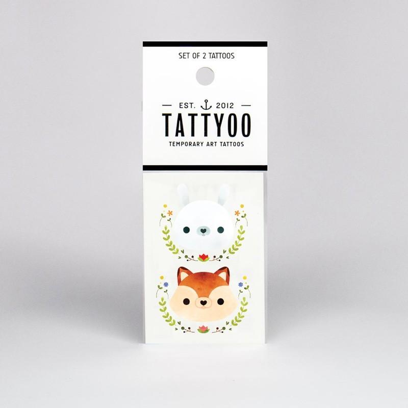 """Tattyoo - 2 Tattoos für Kinder """"Hase und Fuchs"""""""