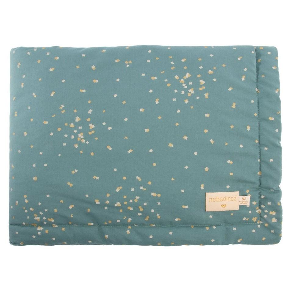 Nobodinoz - Mini Babydecke Laponia Gold Confetti Magic Green