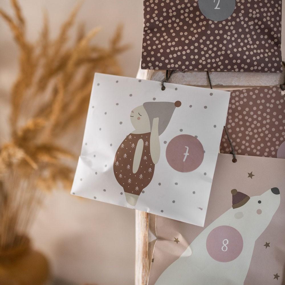 "Ava & Yves - 24 Adventskalender Tüten ""Hase"""