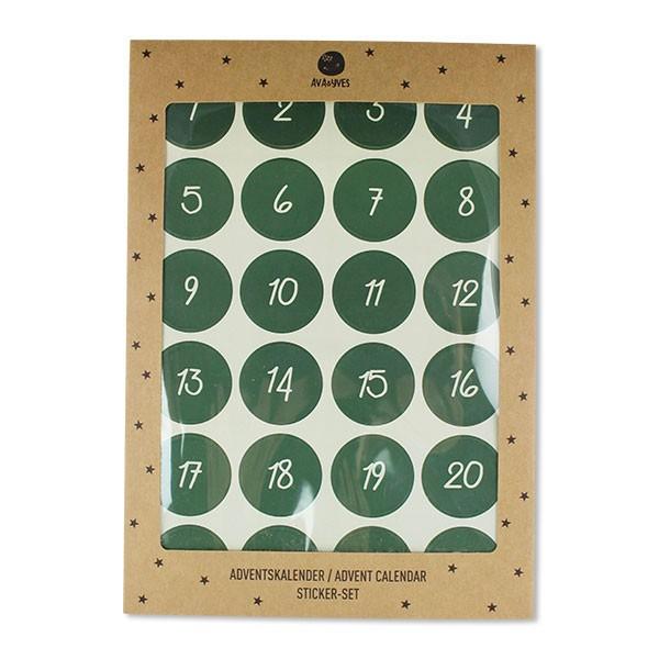 Ava & Yves - Adventskalender Sticker Set Grün