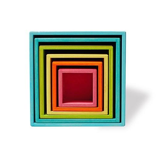 Grimm's Spielzeug - Großer Kistensatz aus Holz Pastell