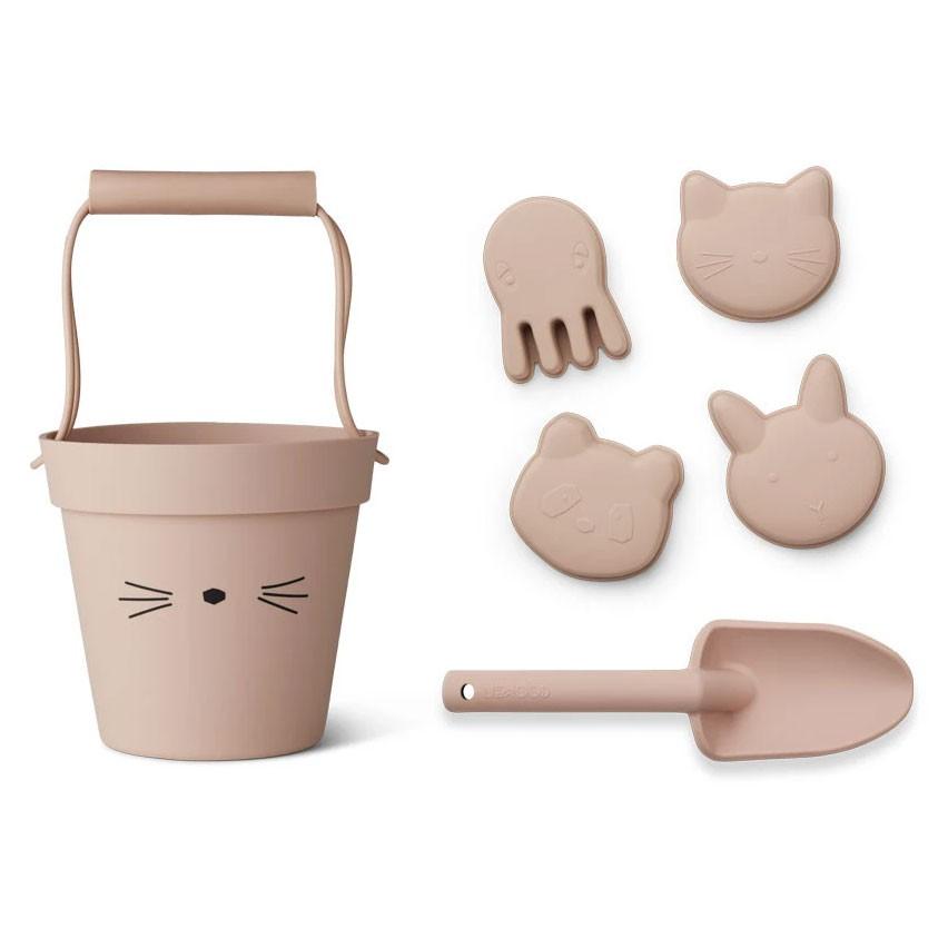 Liewood - 6-teiliges Strandspielzeug Dante aus Silikon Katze rosa